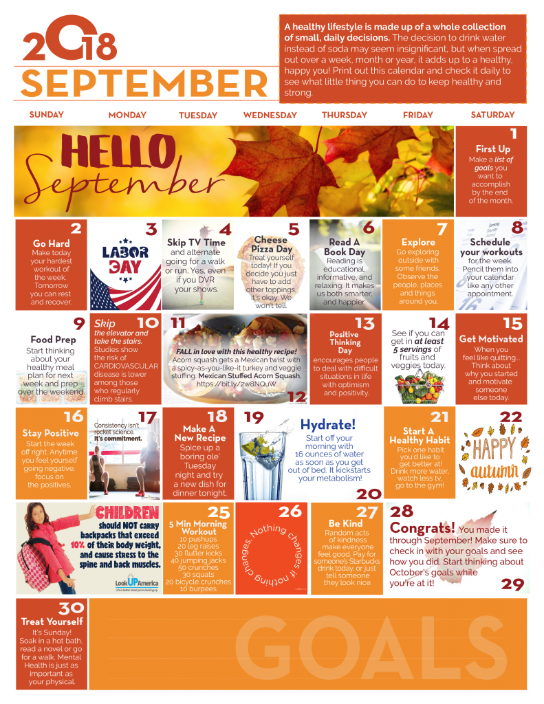 September Wellness Calendar