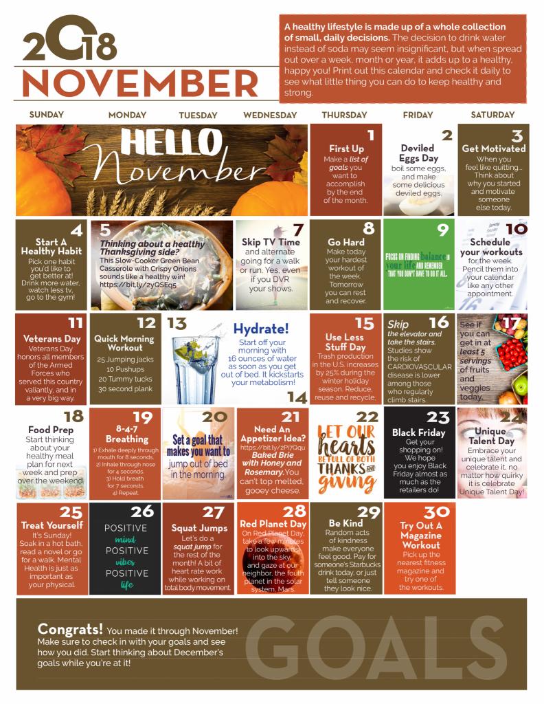 November Wellness Calendar