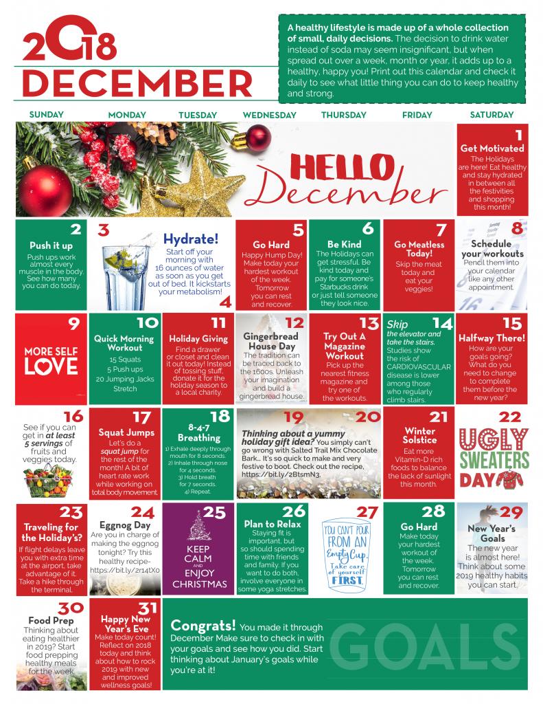 December Wellness Calendar