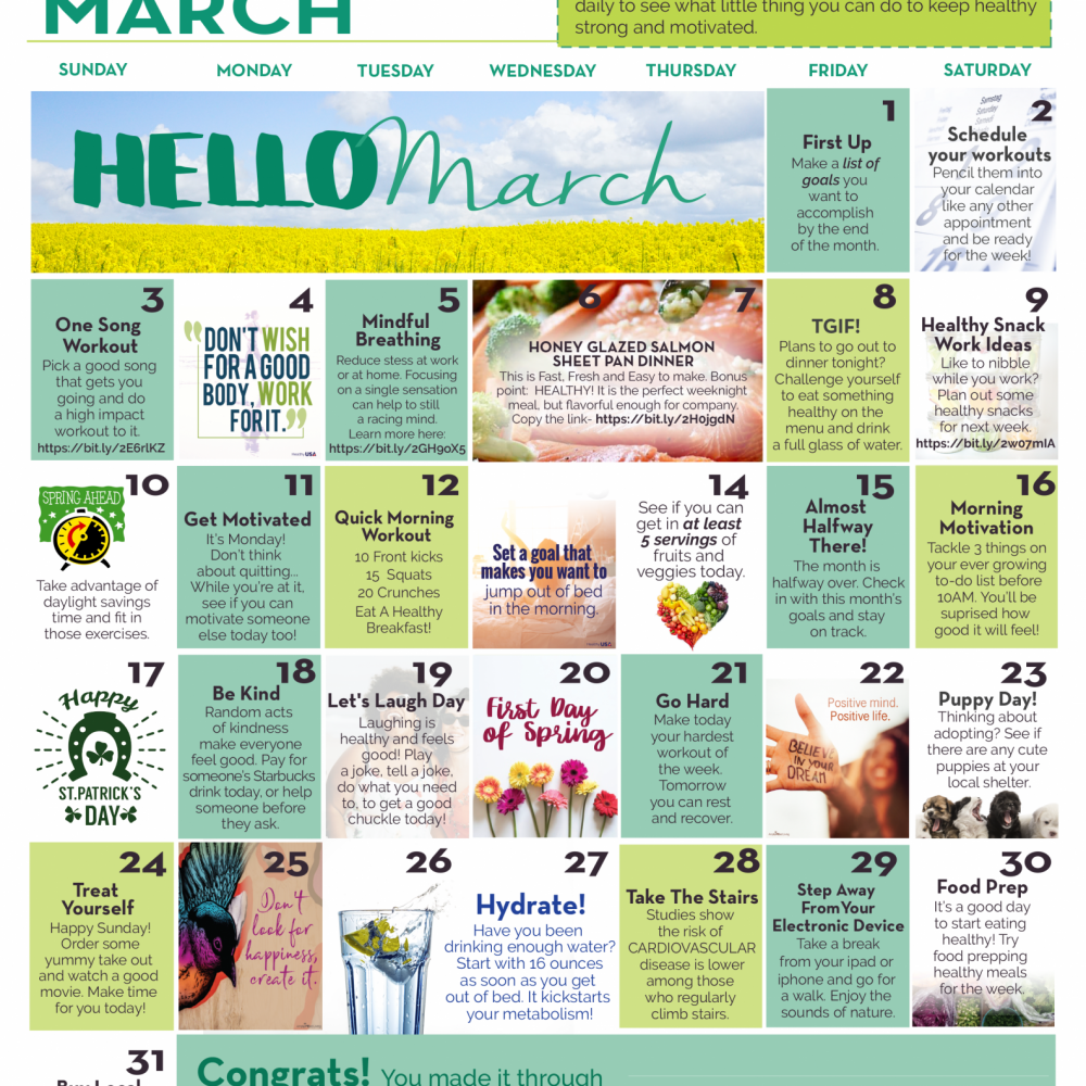 March Wellness Calendar