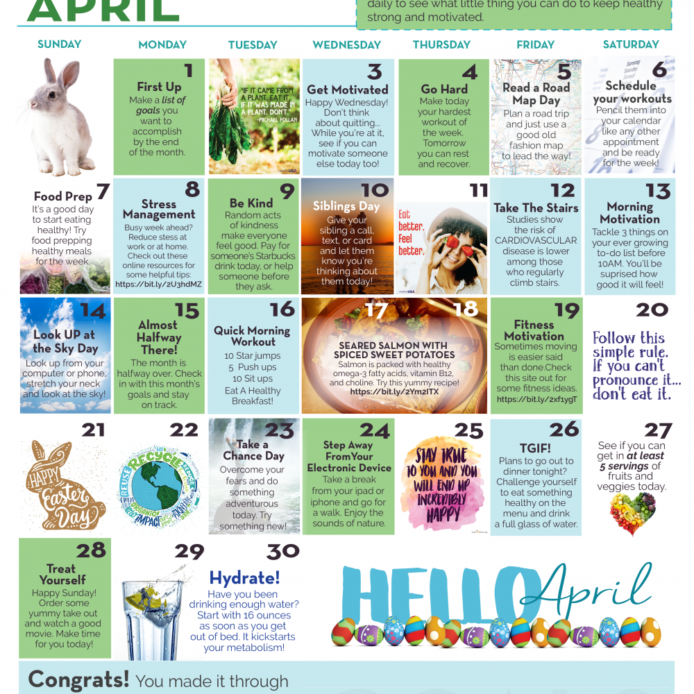 April Wellness Calendar