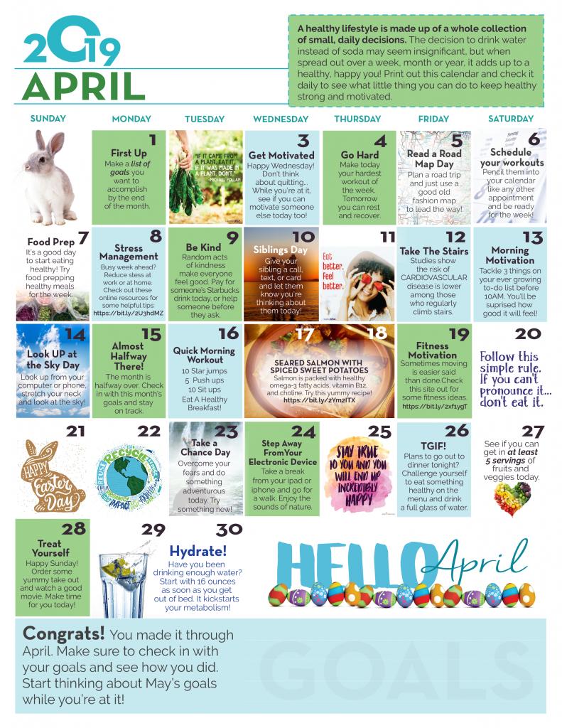 April Wellness Calendar