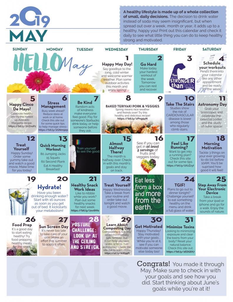 May Wellness Calendar
