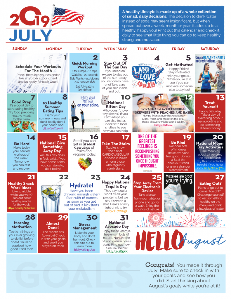 July Wellness Calendar