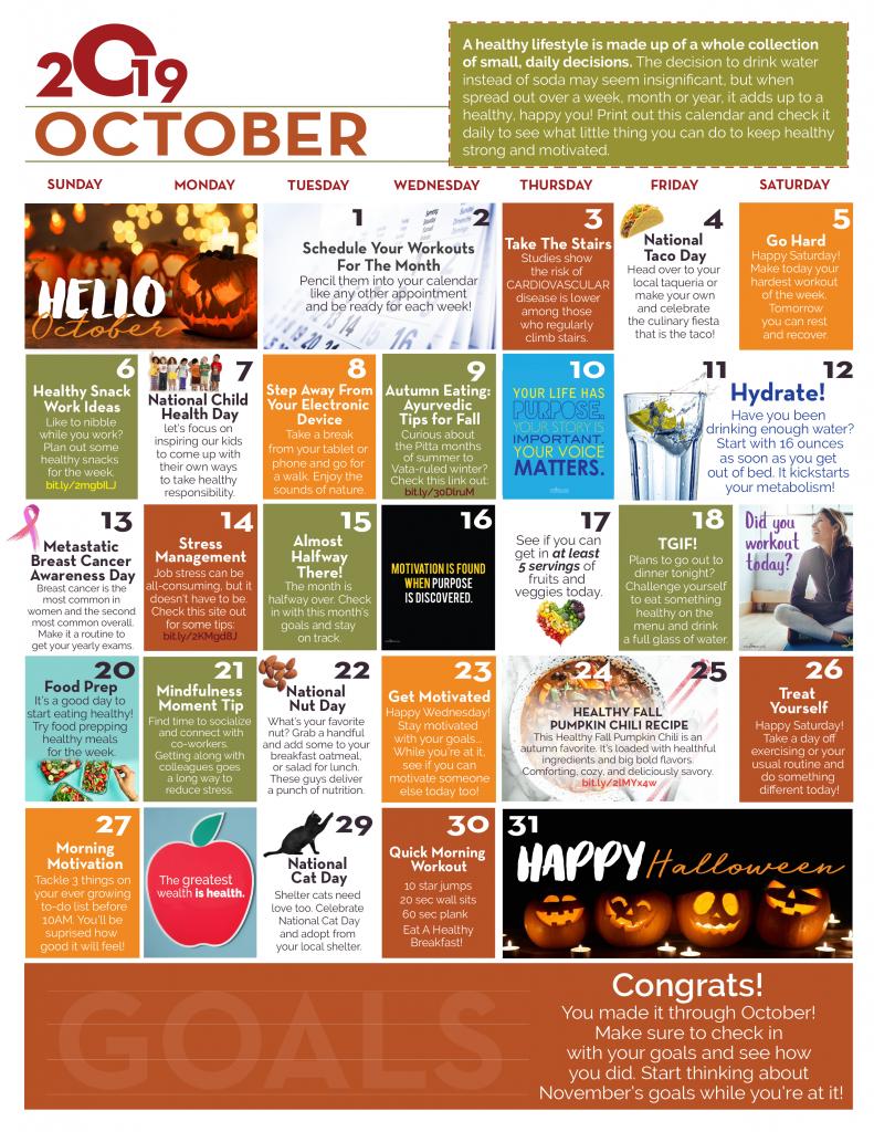 October Wellness Calendar